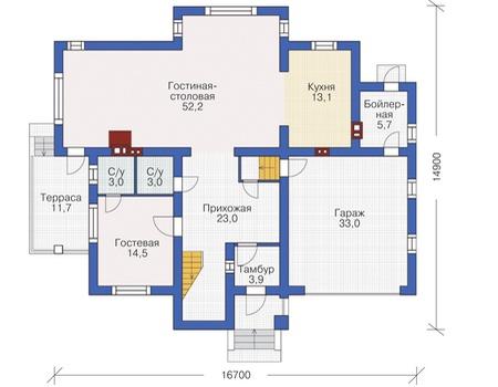 Проект кирпичного дома 72-36 план