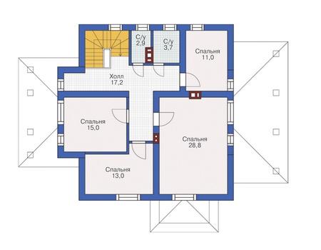 Проект кирпичного дома 72-38 план