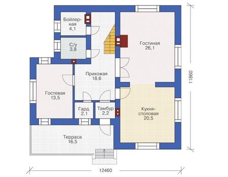 Проект кирпичного дома 72-39 план