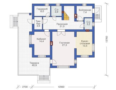 Проект кирпичного дома 72-44 план