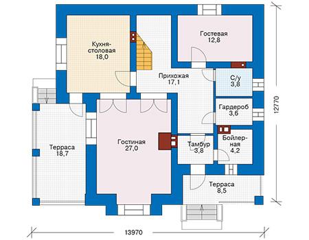 Проект кирпичного дома 72-49 план