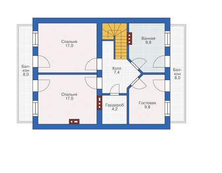 Проект кирпичного дома 72-50 план