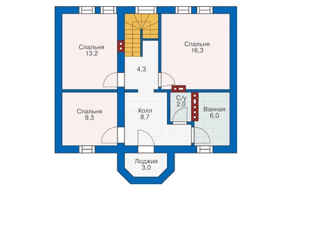 Проект кирпичного дома 72-53 план