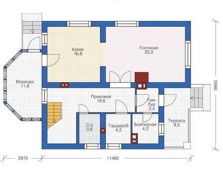 Проект кирпичного дома 72-58 план