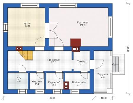 Проект кирпичного дома 72-59 план