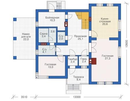 Проект кирпичного дома 72-64 план