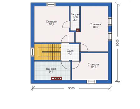 Проект кирпичного дома 72-65 план