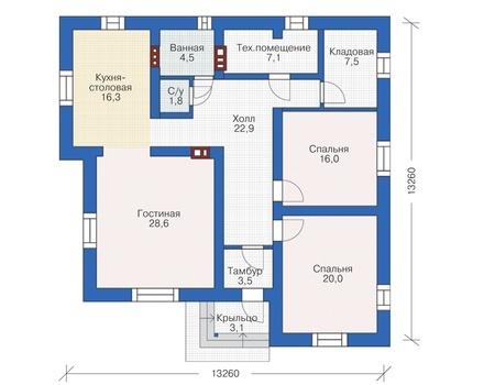 Проект кирпичного дома 72-67 план