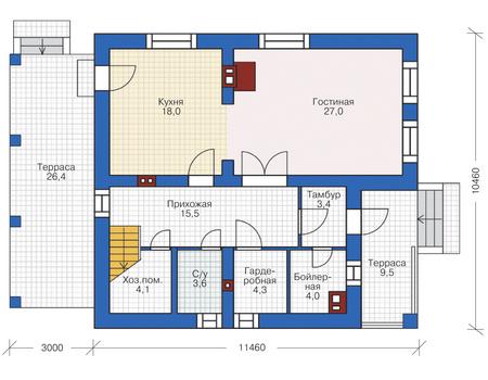 Проект кирпичного дома 72-72 план