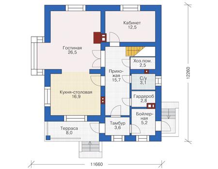 Проект кирпичного дома 72-78 план