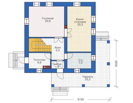 Проект кирпичного дома 72-79 план