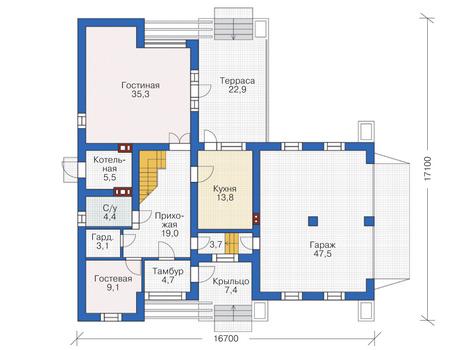 Проект кирпичного дома 72-82 план