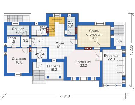 Проект кирпичного дома 72-84 план