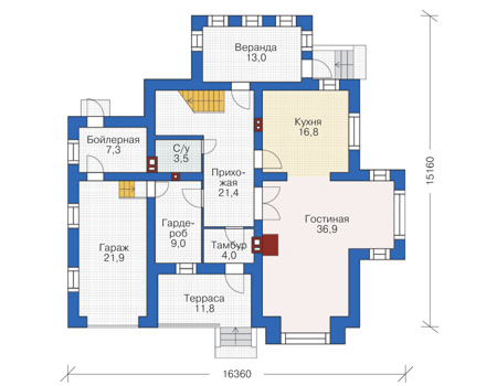 Проект кирпичного дома 72-90 план
