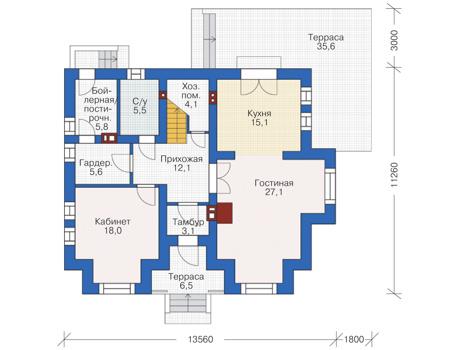 Проект кирпичного дома 72-95 план