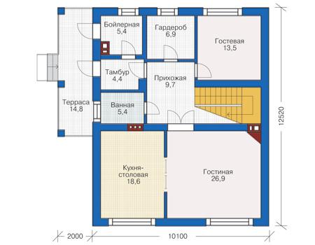 Проект кирпичного дома 72-98 план