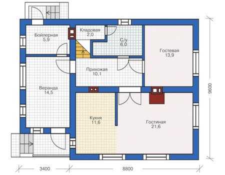 Проект кирпичного дома 73-00 план