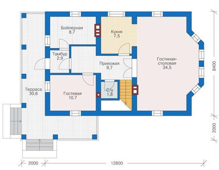 Проект кирпичного дома 73-02 план