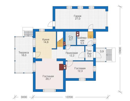 Проект кирпичного дома 73-05 план