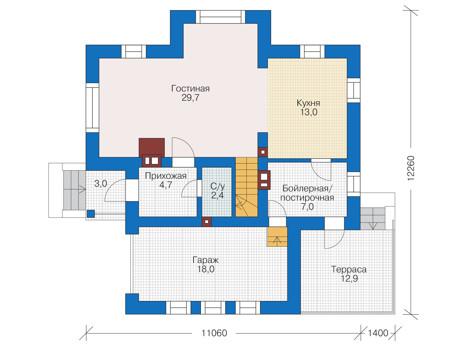 Проект кирпичного дома 73-06 план