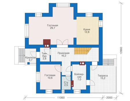 Проект кирпичного дома 73-07 план