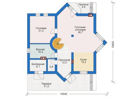 Проект кирпичного дома 73-09 план
