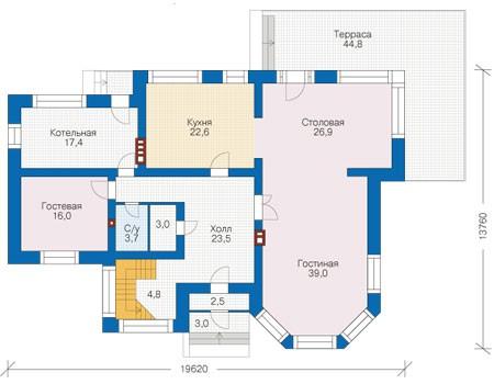 Проект кирпичного дома 73-22 план