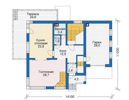 Проект кирпичного дома 73-26 план