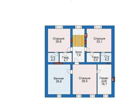 Проект кирпичного дома 73-27 план