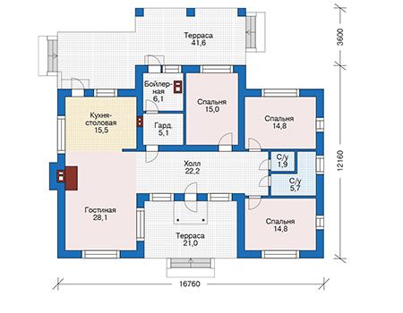 Проект кирпичного дома 73-31 план
