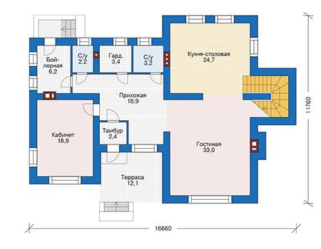 Проект кирпичного дома 73-33 план