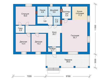 Проект кирпичного дома 73-37 план