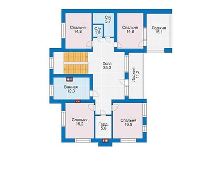 Проект кирпичного дома 73-43 план