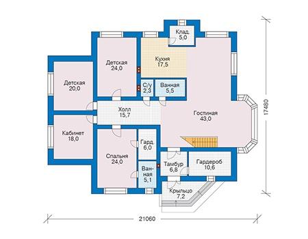 Проект кирпичного дома 73-45 план