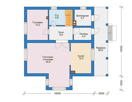 Проект кирпичного дома 73-50 план