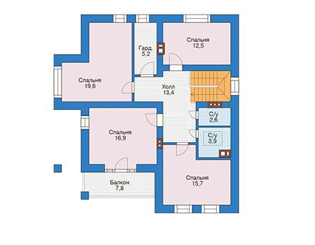 Проект кирпичного дома 73-55 план