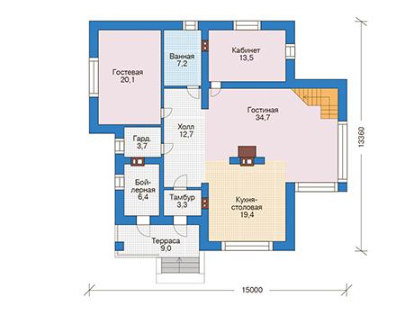 Проект кирпичного дома 73-57 план