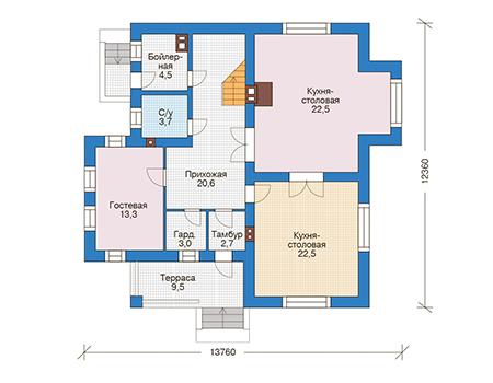 Проект кирпичного дома 73-58 план