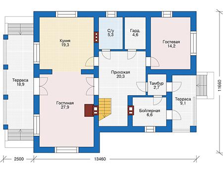 Проект кирпичного дома 73-65 план