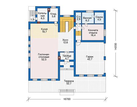 Проект кирпичного дома 73-68 план