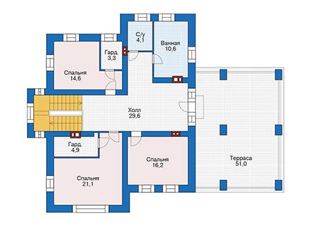 Проект кирпичного дома 73-73 план