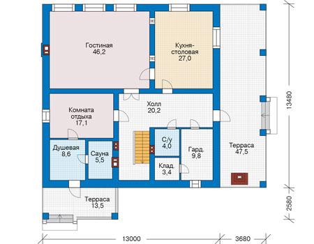 Проект кирпичного дома 73-75 план