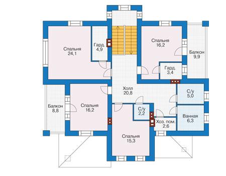 Проект кирпичного дома 73-82 план