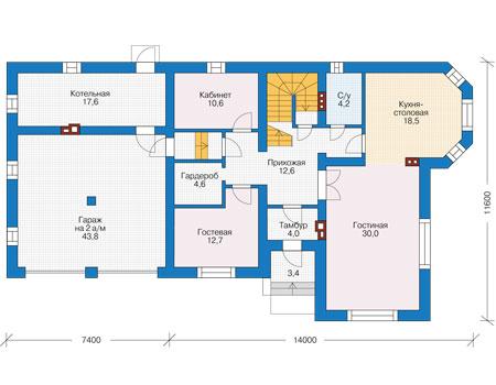 Проект кирпичного дома 73-90 план