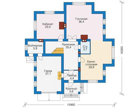 Проект кирпичного дома 73-91 план