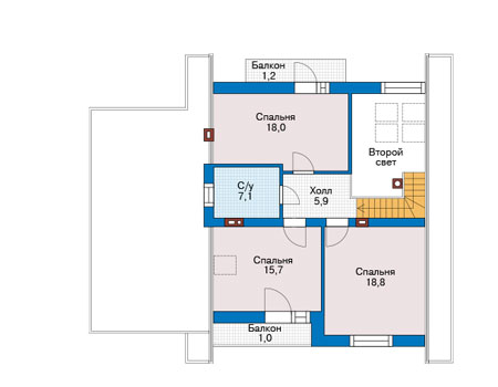 Проект кирпичного дома 73-93 план