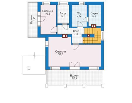 Проект кирпичного дома 73-95 план