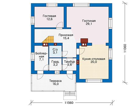 Проект кирпичного дома 74-06 план