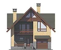 Проект кирпичного дома 74-08 фасад