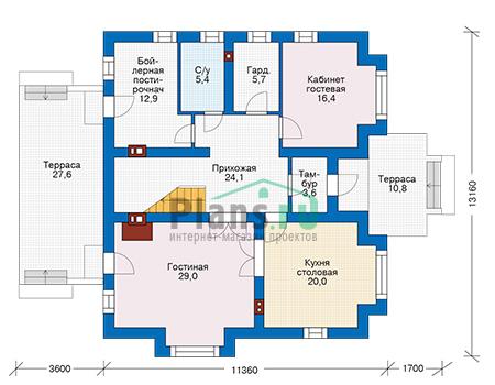 Проект кирпичного дома 74-09 план
